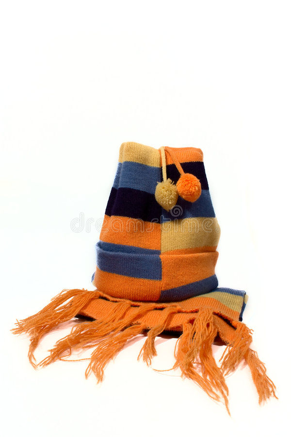Knitted cap and scarf stock photography