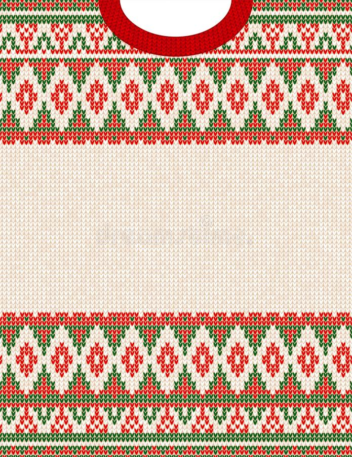 Knitted Chrismas tribal ornament ugly sweater pattern. Ethnic aztec print royalty free illustration
