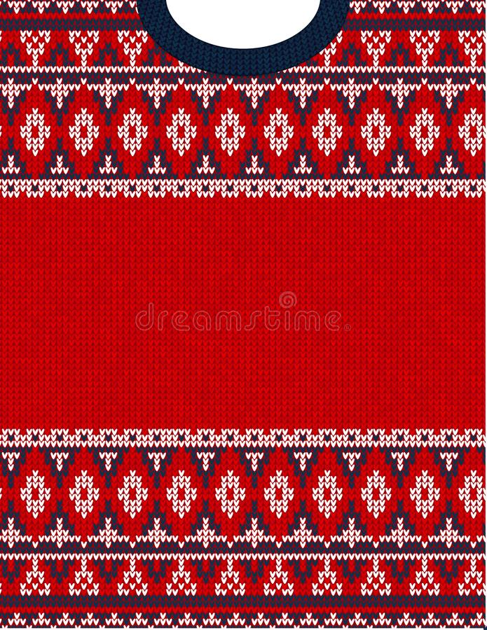 Knitted Chrismas tribal ornament ugly sweater pattern. Ethnic aztec print. Knitted Chrismas tribal ornament ugly sweater pattern. Ethnic aztec jumper round stock image