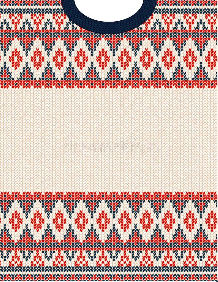 Knitted Chrismas tribal ornament ugly sweater pattern. Ethnic aztec print. Knitted Chrismas tribal ornament ugly sweater pattern. Ethnic aztec jumper round royalty free stock photos