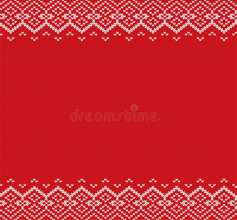Knitted christmas background. Red and white geometric ornament. Xmas knit winter sweater texture design. Knitted christmas background. Red and white geometric vector illustration