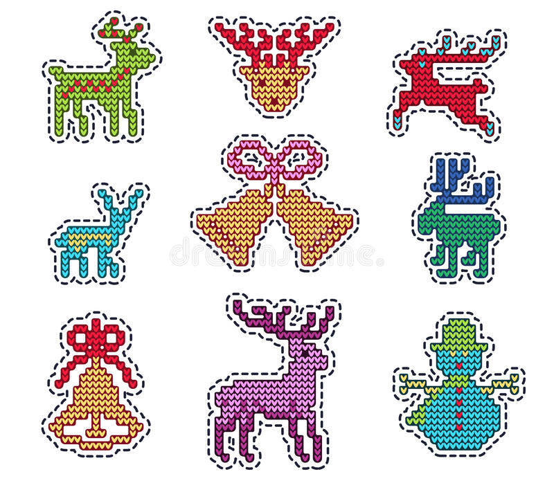 Knitted Christmas Patch royalty free illustration