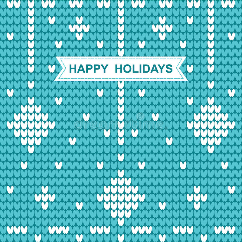 Knitted Christmas pattern with the words happy holidays on blue. Knitted Christmas pattern with the words happy holidays on a blue background.Vector illustration stock illustration