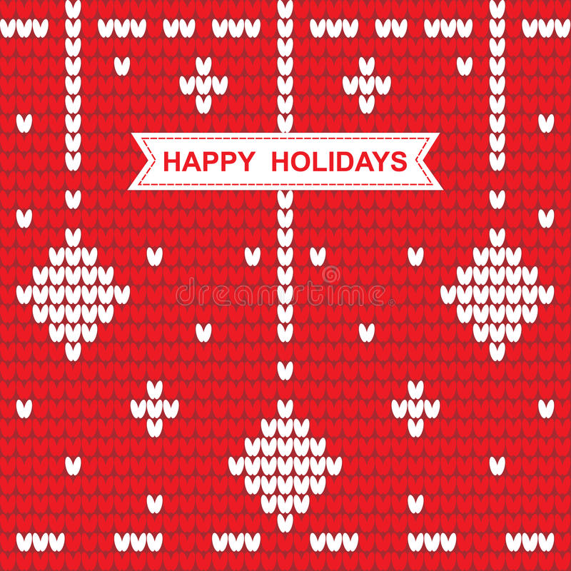 Knitted Christmas pattern with the words happy holidays on red. Background.Vector illustration vector illustration