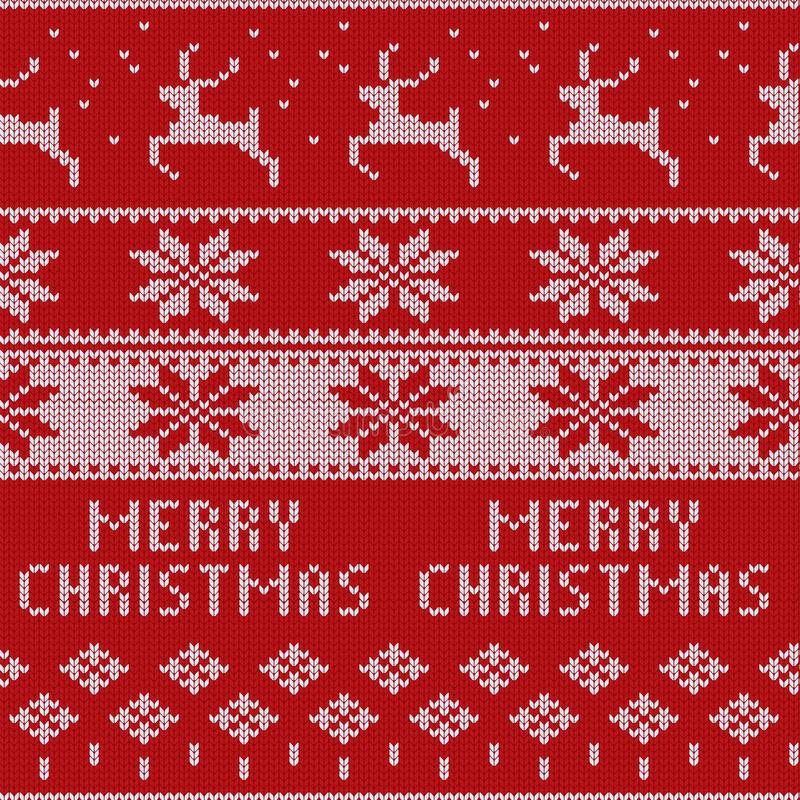 Knitted Christmas sweater pattern with deers, fir-trees, snowflakes. Winter fabric background. stock illustration