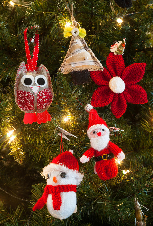 Download Knitted Christmas Tree Decorations Stock Image   Image Of Texture,  Merry: 46602933