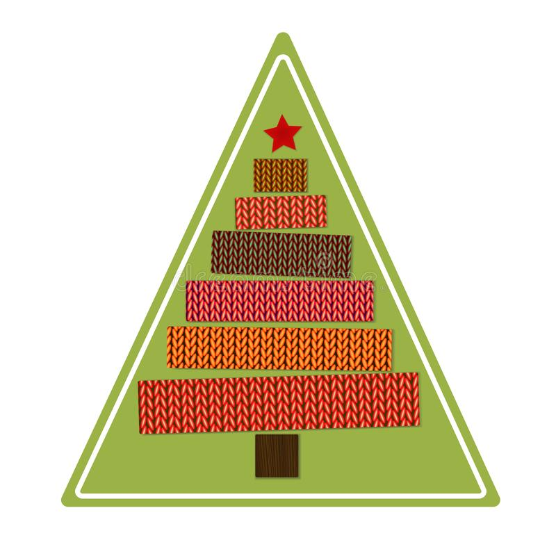 Knitted Christmas tree on a green triangular background. Sticker. Vector stock illustration