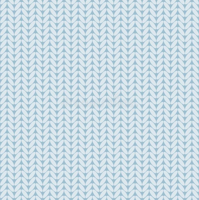 Knitted fabric, seamless background, imitation, vector, light blue. Light blue loops on a blue field. Colored, flat background. For the decoration royalty free illustration