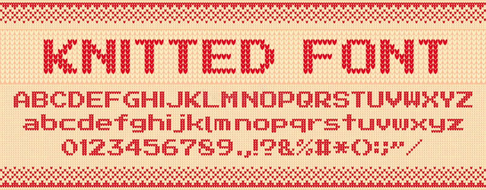 Knitted font. Christmas ugly sweater, knit letters and folk sweaters xmas text template vector illustration set. Knitted font. Christmas ugly sweater, knit vector illustration