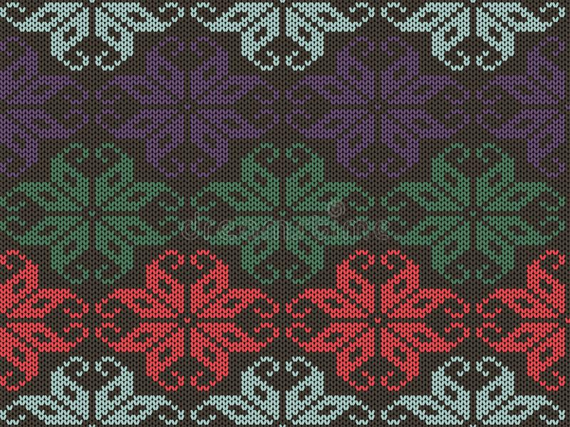 Knitted geometrical ornament texture. Knit seamless pattern. Sweater winter design in different colors. royalty free illustration