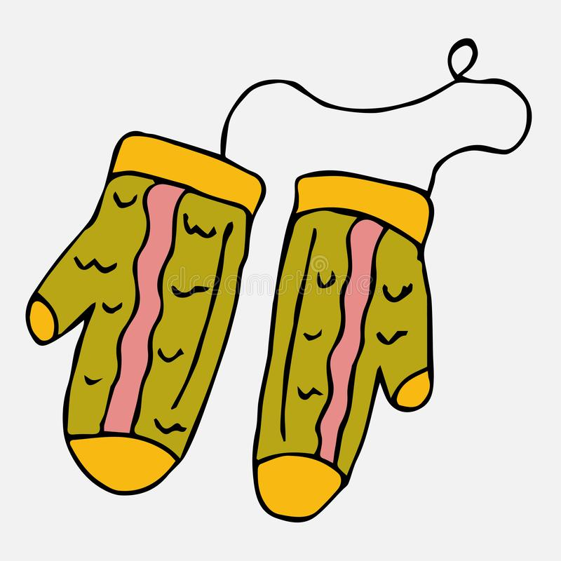 Knitted green mittens with a yellow pattern on a rope. A collection of elements drawn by hand. Isolate on white vector illustration