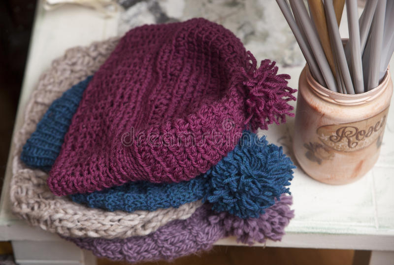 Knitted hats stock photos