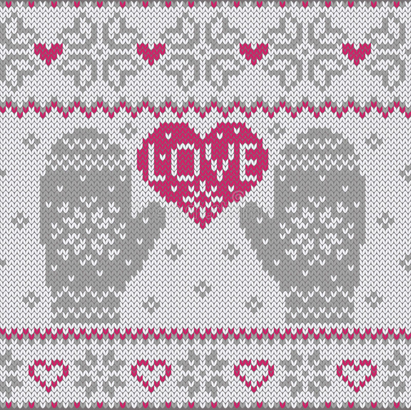 Knitted heart LOVE and mittens vector illustration