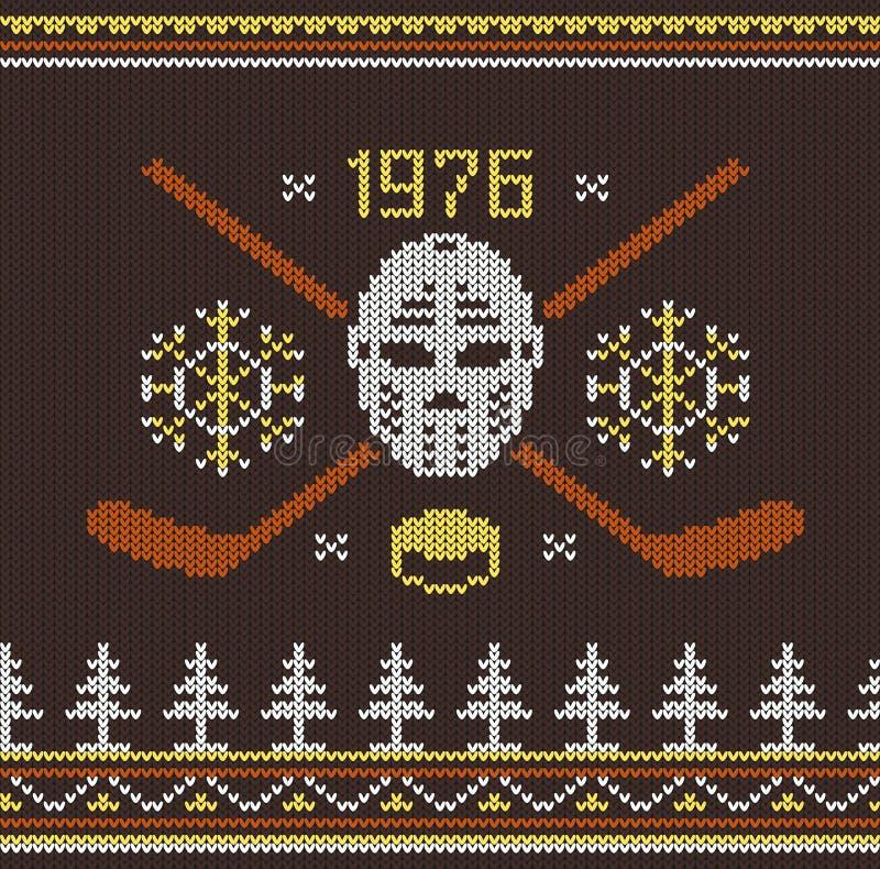 Knitted hockey logo stock illustration
