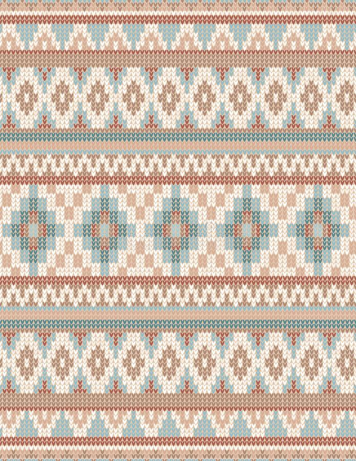 Knitted Indian rug paisley ornament seamless pattern. Ethnic Mandala print royalty free illustration