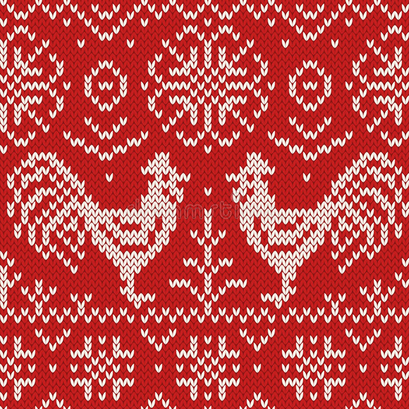 Knitted jacquard seamless pattern with stock photo