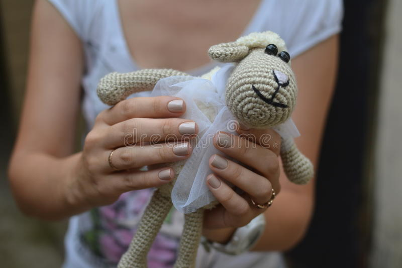 Knitted lamb royalty free stock photography