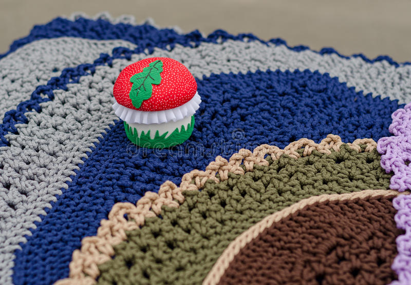 Knitted mushroom. Russia. Knitted mushroom at the fair of handmade products stock photography