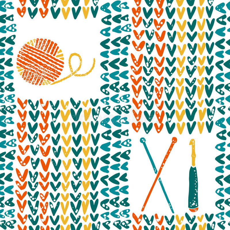 Knitted pattern with needles, crochet and yarn vector illustration