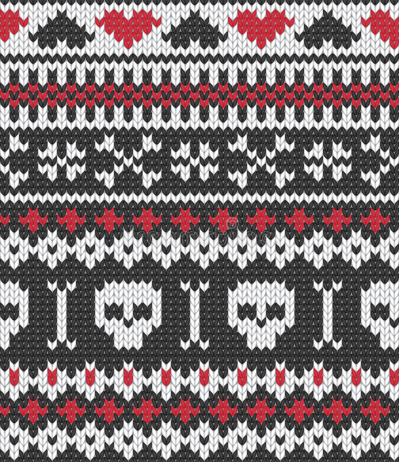 Download Knitted Pattern With Skulls Stock Vector - Image: 22883263