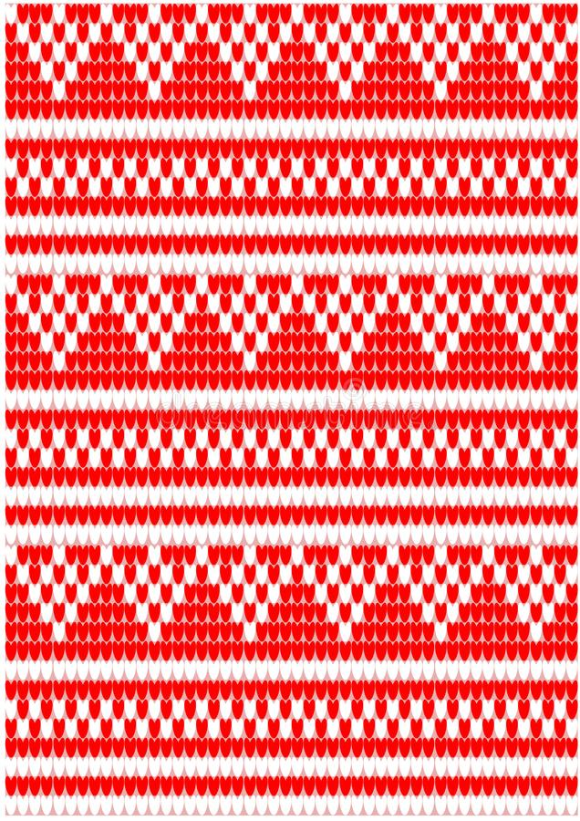 Knitted pattern white and red royalty free stock photo