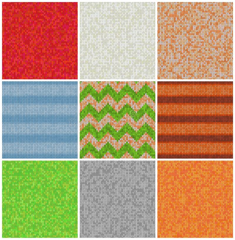 Knitted Patterns Set. Realistic samples backgrounds. Geometric ornaments, scandinavian sweaters cable stitch texture royalty free illustration