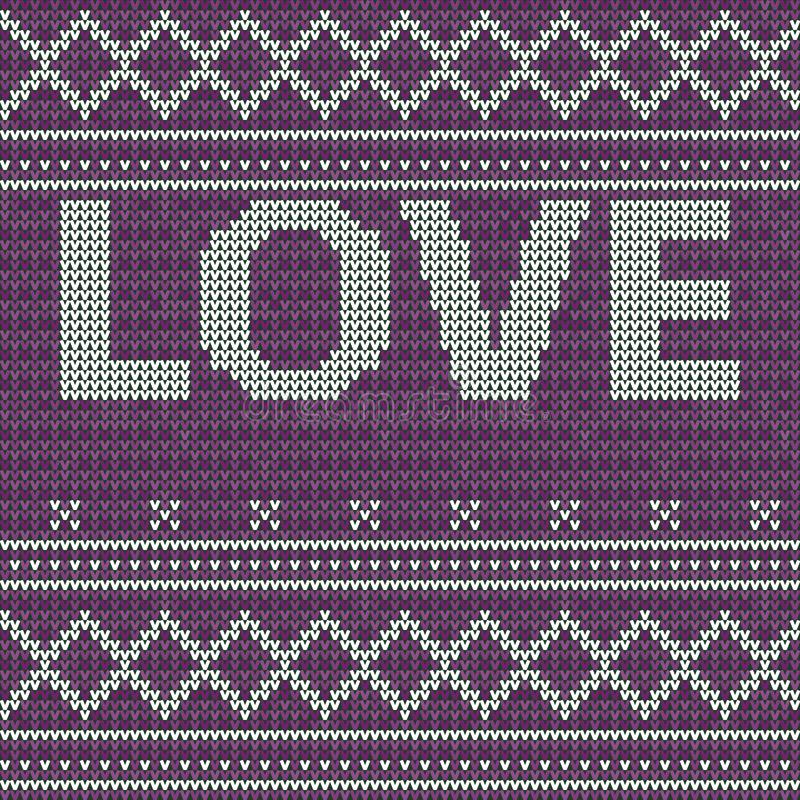 Embroidery love. Knitted purple seamless pattern background. Sweater vector illustration. Knitwear design. Embroidery love royalty free illustration