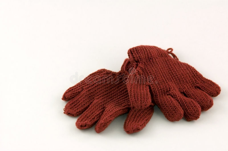 Knitted Red Gloves royalty free stock photography
