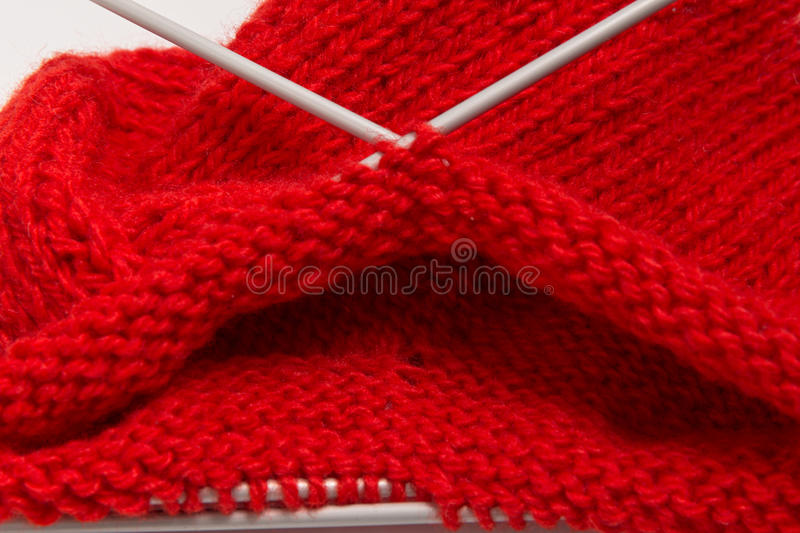 Knitted red sock stock image