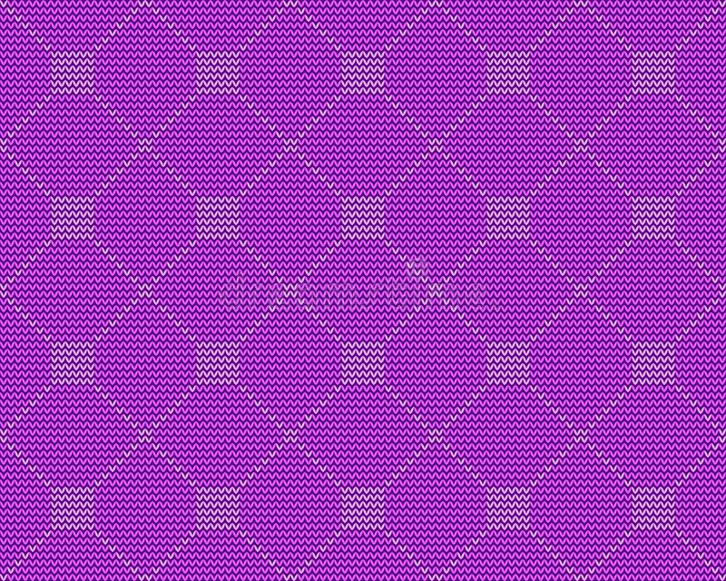 Knitted repeating ornament, foursquare on a purple background. Knitted seamless pattern, foursquare on a purple background. Texture for winter sweater royalty free illustration