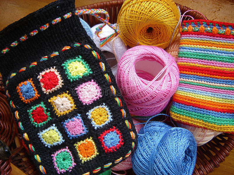 Knitted Sack With Color Threads Royalty Free Stock Photography
