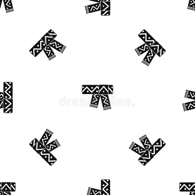 Knitted scarf with pattern pattern seamless black vector illustration