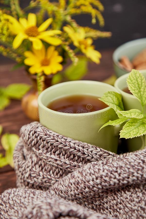 Knitted scarf with warm cup of tea. Autumn leaves on wooden table. Autumn. Fall season. Still life stock photo