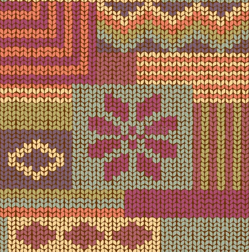 Knitted Seamless Fabric Pattern, Beautiful Blue stock illustration