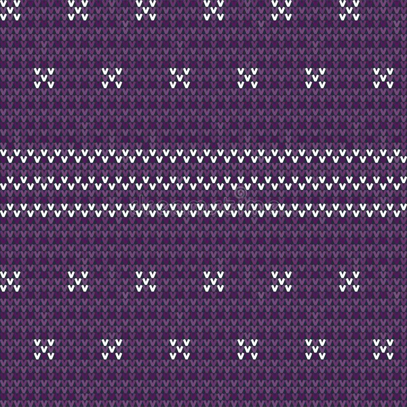 Knitted purple seamless pattern background. Knitted seamless pattern background. Sweater vector illustration. Purple color. Knitwear design royalty free illustration