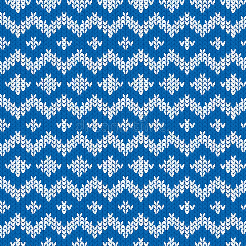 Knitted Seamless Pattern in Blue and Light Gray stock illustration