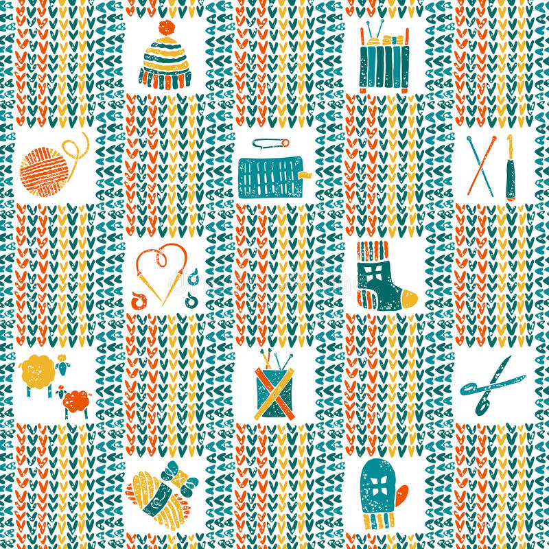 Knitted seamless pattern with knitting accessories vector illustration