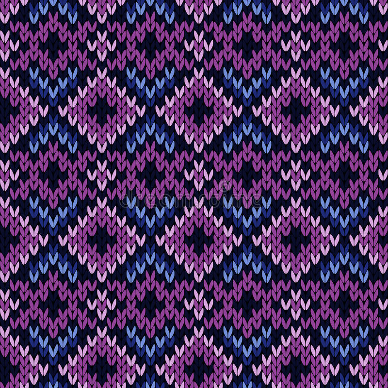 Knitted seamless pattern in purple and blue. Geometrical ornate knitted seamless vector pattern as a fabric texture in purple and blue hues stock illustration
