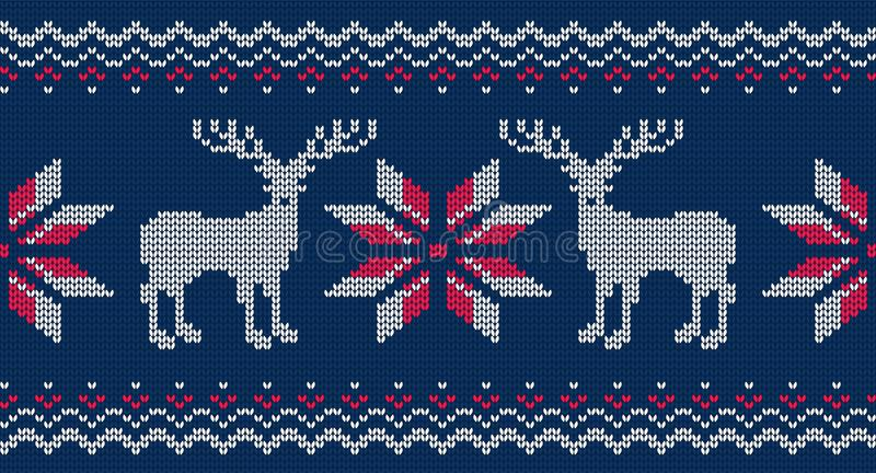 Knitted seamless pattern for sweater. Vector background with deer royalty free illustration