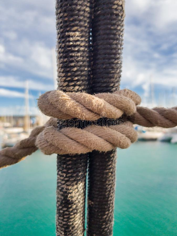 It is knitted on shrouds of classic sailing ships for climbing the mast royalty free stock images