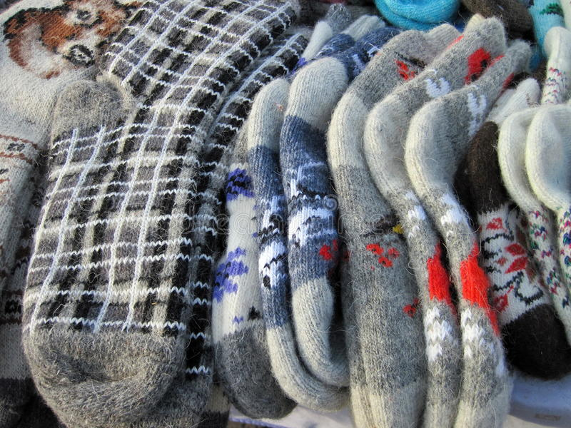 Knitted sock for street sale royalty free stock image