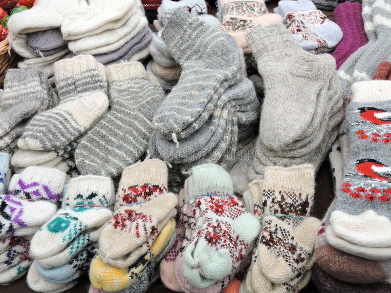 Knitted socks pattern royalty free stock photo