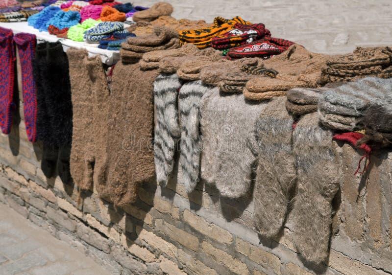 Knitted socks and slippers, Uzbekistan. Street market with knitted socks and slippers, Khiva, Uzbekistan stock photography