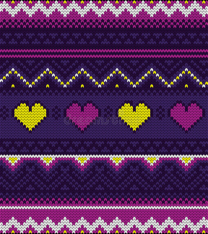 Knitted sweater purple pattern with hearts. Knitted geometric pattern with hearts in purple colour with some yellow elements royalty free illustration