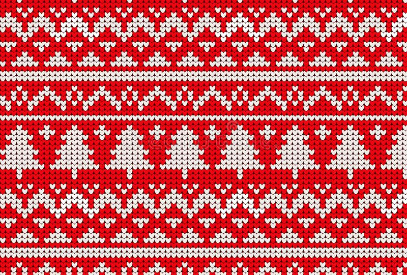 Knitted sweater winter pattern in red and tree royalty free illustration