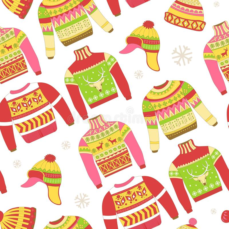 Knitted sweaters and warm winter hat seamless pattern royalty free illustration
