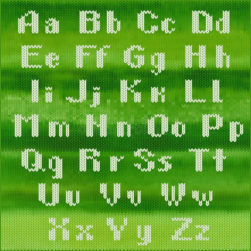 Knitted vector alphabet, white bold sans serif letters. Part 1 - letters. vector illustration
