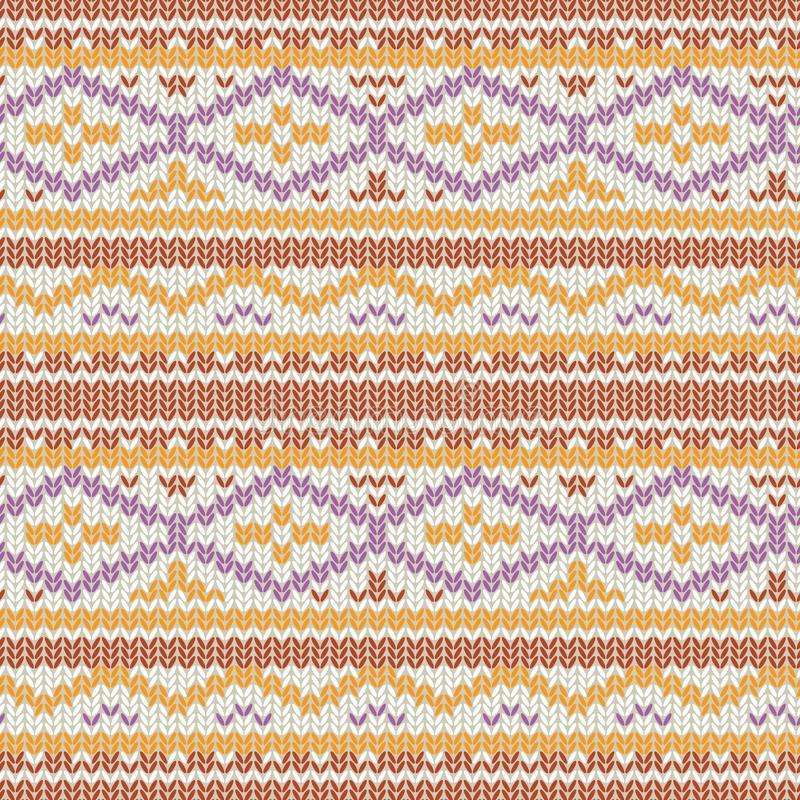Knitted seamless vector pattern with cozy geometric ornament stock illustration