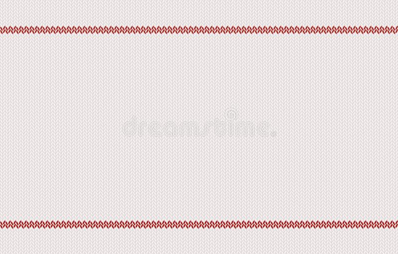 Knitted texture with red stripes on white woolen background. stock illustration