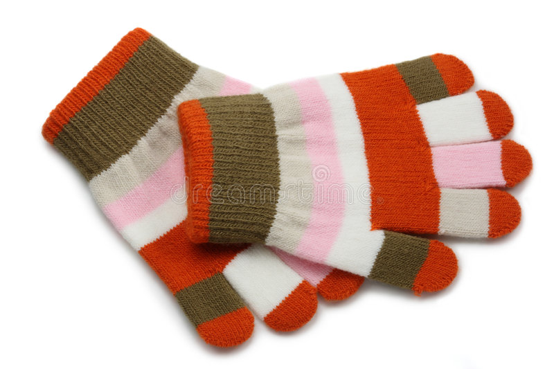 Knitted winter gloves stock photo